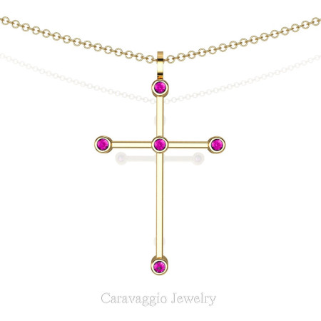 Art-Masters-Caravaggio-18K-Yellow-Gold-0-15-Ct-Pink-Sapphire-Cross-Pendant-Necklace-16-Inch-Chain-C623-18KYGPS-X