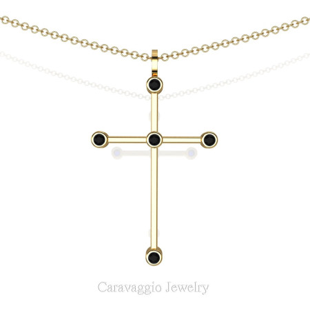 Art-Masters-Caravagio-14K-Yellow-Gold-0.15-Ct-Black-Sapphire-Cross-Pendant-Necklace-16-Chain-C623-14KYGBLS-X