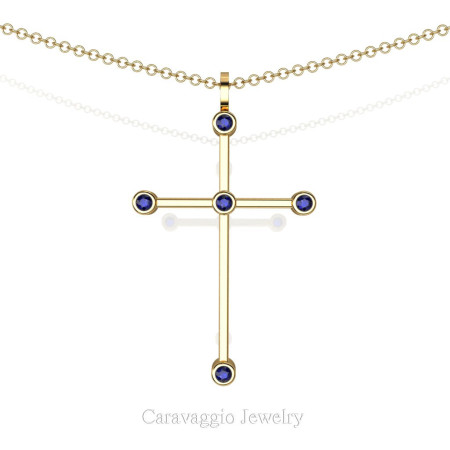 Art-Masters-Caravagio-18K-Yellow-Gold-0.15-Ct-Blue-Sapphire-Cross-Pendant-Necklace-16-Chain-C623-18KYGBS-X