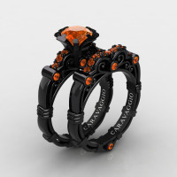 Art Masters Caravaggio 14K Black Gold 1.0 Ct Orange Sapphire Engagement Ring Wedding Band Set R623S-14KBGOS