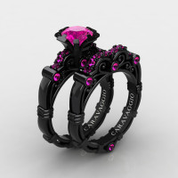 Art Masters Caravaggio 14K Black Gold 1.0 Ct Pink Sapphire Engagement Ring Wedding Band Set R623S-14KBGPS2