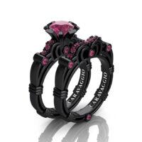 Art Masters Caravaggio 14K Black Gold 1.0 Ct Tourmaline Engagement Ring Wedding Band Set R623S-14KBGATM