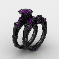Art Masters Caravaggio 14K Black Gold 1.0 Ct Amethyst Engagement Ring Wedding Band Set R623S-14KBGAM2