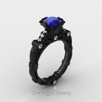 Caravaggio 14K Black Gold 1.0 Ct Blue Sapphire Diamond Engagement Ring R623-14KBGDBS