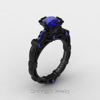 Caravaggio 14K Black Gold 1.0 Ct Blue Sapphire Engagement Ring R623-14KBGBS