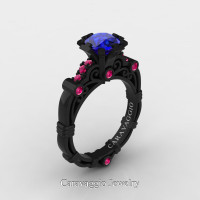 Caravaggio 14K Black Gold 1.0 Ct Blue Pink Sapphire Engagement Ring R623-14KBGPSBS