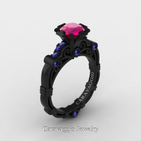 Caravaggio 14K Black Gold 1.0 Ct Pink Blue Sapphire Engagement Ring R623-14KBGBSPS