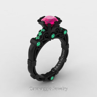 Caravaggio 14K Black Gold 1.0 Ct Pink Sapphire Emerald Engagement Ring R623-14KBGEMPS