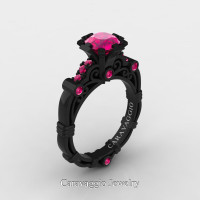 Caravaggio 14K Black Gold 1.0 Ct Pink Sapphire Engagement Ring R623-14KBGPS