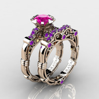Art Masters Caravaggio 14K Rose Gold 1.0 Ct Pink Sapphire Amethyst Engagement Ring Wedding Band Set R623S-14KRGAMPS