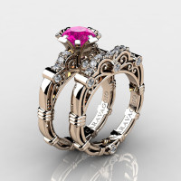 Art Masters Caravaggio 14K Rose Gold 1.0 Ct Pink Sapphire Diamond Engagement Ring Wedding Band Set R623S-14KRGDPS