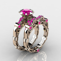 Art Masters Caravaggio 14K Rose Gold 1.0 Ct Pink Sapphire Engagement Ring Wedding Band Set R623S-14KRGPS