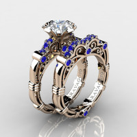 Art Masters Caravaggio 14K Rose Gold 1.0 Ct White Blue Sapphire Engagement Ring Wedding Band Set R623S-14KRGBSWS