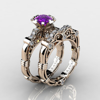 Art Masters Caravaggio 14K Rose Gold 1.0 Ct Amethyst Diamond Engagement Ring Wedding Band Set R623S-14KRGDAM