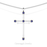 Art Masters Caravaggio 14K White Gold 0.15 Ct Blue Sapphire Cross Pendant Necklace 16 Inch Chain C623-14KWGBS