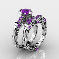 Art Masters Caravaggio 14K White Gold 1.0 Ct Amethyst Engagement Ring Wedding Band Set R623S-14KWGAM