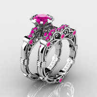 Art Masters Caravaggio 14K White Gold 1.0 Ct Pink Sapphire Engagement Ring Wedding Band Set R623S-14KWGPSArt Masters Caravaggio 14K White Gold 1.0 Ct Pink Sapphire Engagement Ring Wedding Band Set R623S-14KWGPS