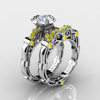 Art Masters Caravaggio 14K White Gold 1.0 Ct White Yellow Sapphire Engagement Ring Wedding Band Set R623S-14KWGYSWS