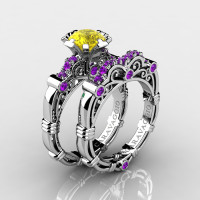 Art Masters Caravaggio 14K White Gold 1.0 Ct Yellow Sapphire Amethyst Engagement Ring Wedding Band Set R623S-14KWGAMYS