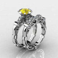 Art Masters Caravaggio 14K White Gold 1.0 Ct Yellow Sapphire Diamond Engagement Ring Wedding Band Set R623S-14KWGDYS