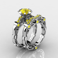 Art Masters Caravaggio 14K White Gold 1.0 Ct Yellow Sapphire Engagement Ring Wedding Band Set R623S-14KWGYS