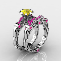 Art Masters Caravaggio 14K White Gold 1.0 Ct Yellow Pink Sapphire Engagement Ring Wedding Band Set R623S-14KWGPSYS