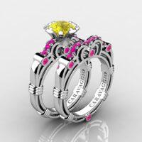 Art Masters Caravaggio 14K White Gold 1.0 Ct Yellow Pink Sapphire Engagement Ring Wedding Band Set R623S-14KWGPSYS