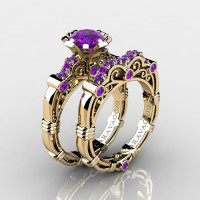 Art Masters Caravaggio 14K Yellow Gold 1.0 Ct Amethyst Engagement Ring Wedding Band Set R623S-14KYGAM