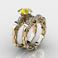 Art Masters Caravaggio 14K Yellow Gold 1.0 Ct Yellow Sapphire Diamond Engagement Ring Wedding Band Set R623S-14KYGDYS