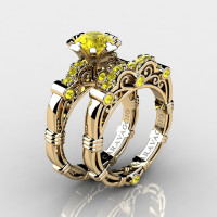 Art Masters Caravaggio 14K Yellow Gold 1.0 Ct Yellow Sapphire Engagement Ring Wedding Band Set R623S-14KYGYS