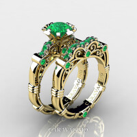 Art Masters Caravaggio 14K Yellow Gold 1.0 Ct Emerald Engagement Ring Wedding Band Set R623S-14KYGEM