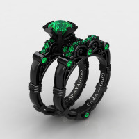 Art Masters Caravaggio 14K Black Gold 1.0 Ct Emerald Engagement Ring Wedding Band Set R623S-14KBGEM2