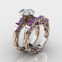 Art Masters Caravaggio 14K Rose Gold 1.0 Ct White Sapphire Amethyst Engagement Ring Wedding Band Set R623S-14KRGAMWS