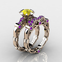 Art Masters Caravaggio 14K Rose Gold 1.0 Ct Yellow Sapphire Amethyst Engagement Ring Wedding Band Set R623S-14KRGAMYS