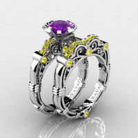 Art Masters Caravaggio 14K White Gold 1.0 Ct Amethyst Yellow Sapphire Engagement Ring Wedding Band Set R623S-14KWGYSAM