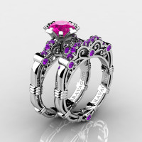 Art Masters Caravaggio 14K White Gold 1.0 Ct Pink Sapphire Amethyst Engagement Ring Wedding Band Set R623S-14KWGAMPS