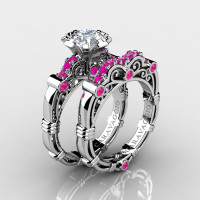 Art Masters Caravaggio 14K White Gold 1.0 Ct White Pink Sapphire Engagement Ring Wedding Band Set R623S-14KWGPSWS