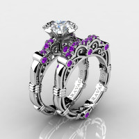 Art Masters Caravaggio 14K White Gold 1.0 Ct White Sapphire Amethyst Engagement Ring Wedding Band Set R623S-14KWGAMWS