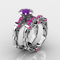 Art Masters Caravaggio 14K White Gold 1.0 Ct Amethyst Pink Sapphire Engagement Ring Wedding Band Set R623S-14KWGPSAM