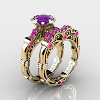 Art Masters Caravaggio 14K Yellow Gold 1.0 Ct Amethyst Pink Sapphire Engagement Ring Wedding Band Set R623S-14KYGPSAM
