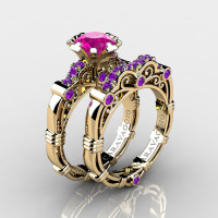 Art Masters Caravaggio 14K Yellow Gold 1.0 Ct Pink Sapphire Amethyst Engagement Ring Wedding Band Set R623S-14KYGAMPS