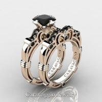 Art Masters Caravaggio 14K Rose Gold 1.25 Ct Princess Black Diamond Engagement Ring Wedding Band Set R623PS-14KRGBD
