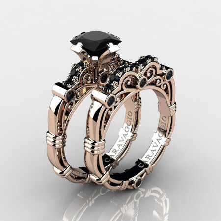 Art-Masters-Caravaggio-Jewelry-14K-Rose-Gold-1-25-Ct-Princess-Black-Diamond-Engagement-Ring-Wedding-Band-Bridal-Set-R623PS-14KRGBD-P