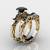 Art Masters Caravaggio 14K Yellow Gold 1.25 Ct Princess Black Diamond Engagement Ring Wedding Band Set R623PS-14KYGBD