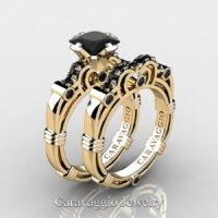 Art Masters Caravaggio 14K Yellow Gold 1.25 Ct Princess Black Diamond Engagement Ring Wedding Band Set R623PS-14KYGBD