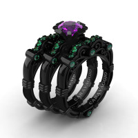 Art Masters Caravaggio Trio 14K Black Gold 1.0 Ct Amethyst Emerald Engagement Ring Wedding Band Set R623S3-14KBGEMCAM