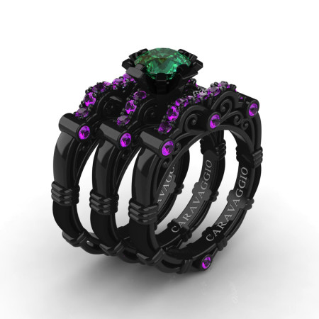 Art-Masters-Caravaggio-Trio-14K-Black-Gold-1-Carat-Emerald-Amethyst-Engagement-Ring-Wedding-Band-Set-R623S3-14KBGAMEM-P