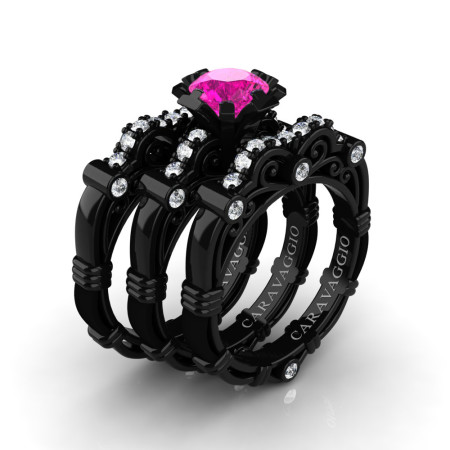 Art-Masters-Caravaggio-Trio-14K-Black-Gold-1-Carat-Pink-Sapphire-Diamond-Engagement-Ring-Wedding-Band-Set-R623S3-14KBGDPS-P