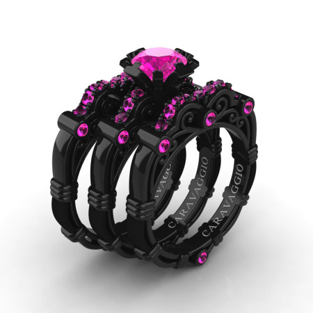 Art-Masters-Caravaggio-Trio-14K-Black-Gold-1-Carat-Pink-Sapphire-Engagement-Ring-Wedding-Band-Set-R623S3-14KBGPS-P3