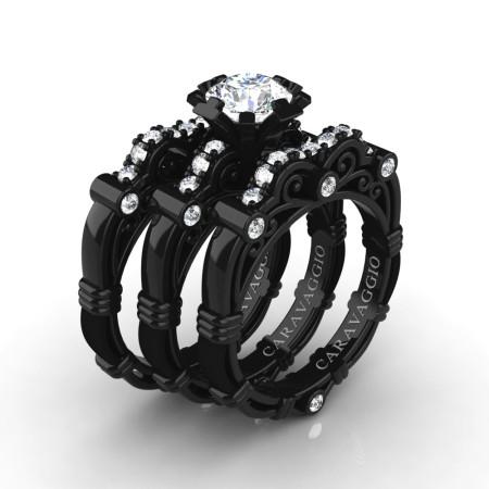 Art-Masters-Caravaggio-Trio-14K-Black-Gold-1-White-Sapphire-Diamond-Engagement-Ring-Wedding-Band-Set-R623S3-14KBGDWS